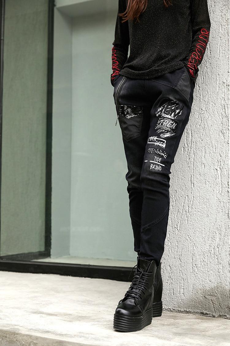 Natural prined 3d 最大ルル春のファッションヴィンテージ弾性ハーレムパンツ韓国レディースブラックスキニーリッピング 79