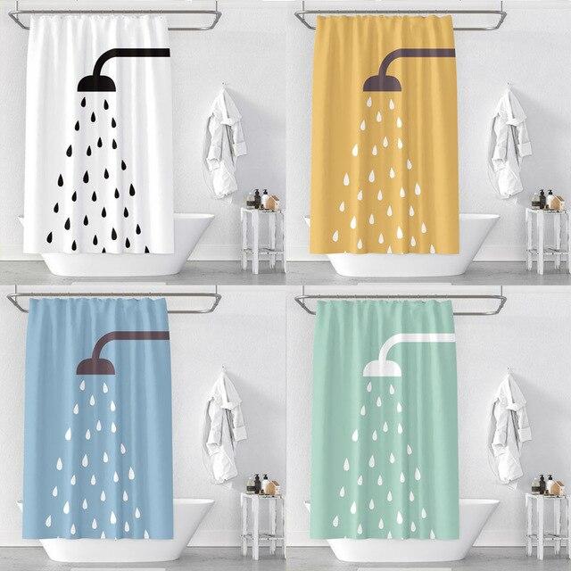 מקלחת זרבובית 3D הדפסה עמיד למים עיבוי פוליאסטר מקלחת אסלת וילון מחיצת וילון אמבטיה וילון עם ווי מתכת