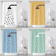 Shower Nozzle 3D Print Waterproof Thickening Polyester Shower Curtain Toilet Partition Curtain Bathroom Curtain with Metal Hooks