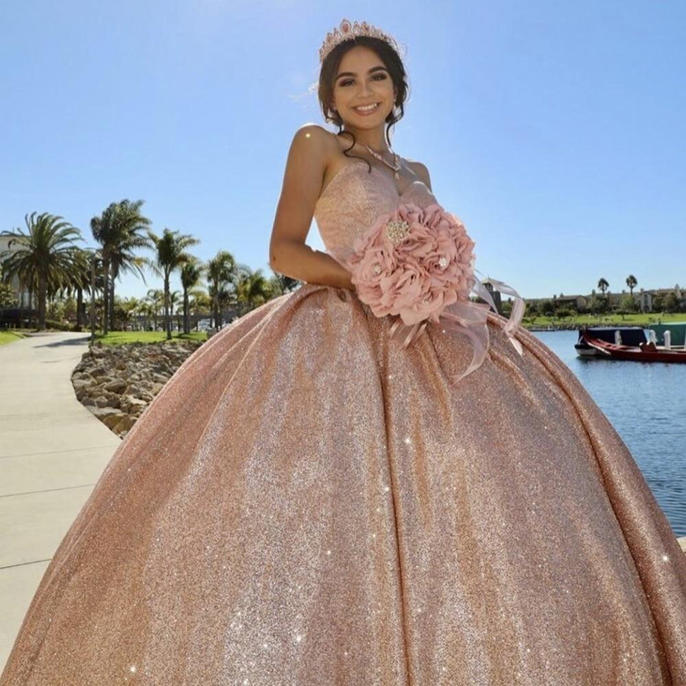 Różowe złoto Quinceanera sukienki 2020 Sweetheart cekiny słodkie 15 16 sukienka Backless bufiasta spódnica Birhtday Party suknia sukienka na studniówkę