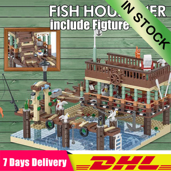 2020 IN STOCK DHL 30101 1402PCS MOC Old Fishing House Pier Set  Building Blocks Bricks Toys Model Compatible 16050 83028  21310