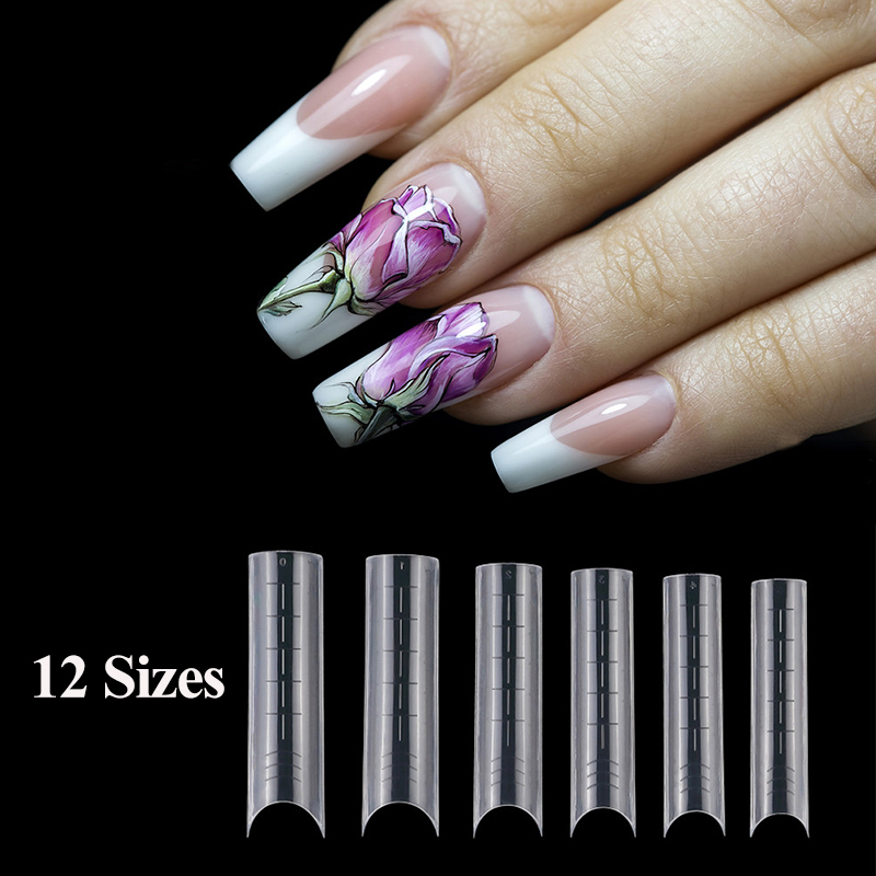 Двойная форма, формочка для гроба, Типсы для ногтей, 12 размеров, форма для ногтей-зажим, искусственная прозрачная полностью закрывающая форм...