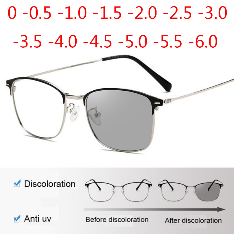 Photochromism Eyeglasses Square Alloy Frame Myopia <font><b>Glasses</b></font> Outdoor UV Protection Diopter -<font><b>0.5</b></font> -1.0 -1.5 -2.0 To -6.0 image