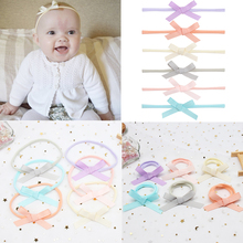 6Pcs/Set Solid Hair Bow Headband with High Elastic Nylon Band For Girls Boutique Hairband Handmade Newborn Accessories