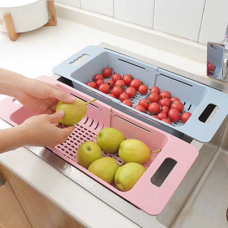 Retractable Adjustment Sink Telescopic Washing Basket Washing Fruit Basket Kitchen Sink Basin Dish Basket Drain Basket Wy102916