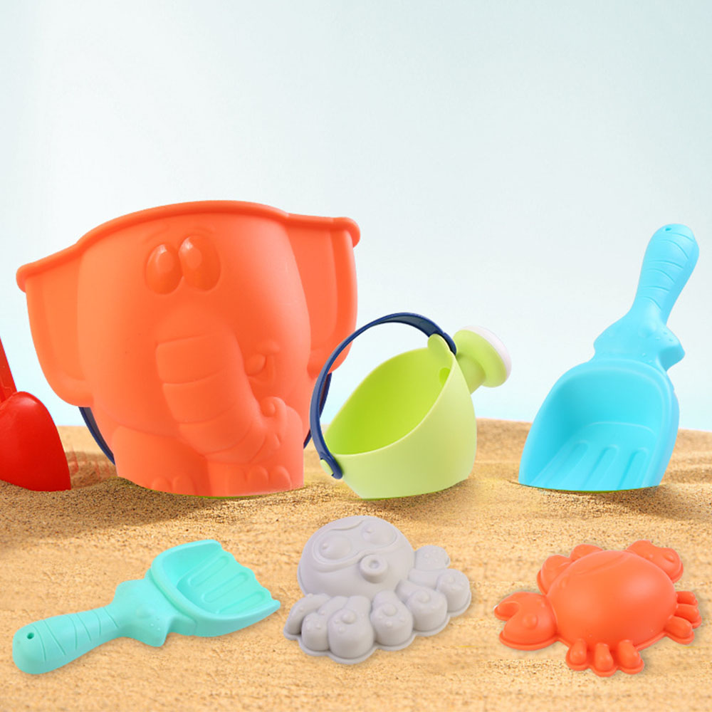 2019 Hot Sales Beach Toy Set Children Summer Silicone Shovel Tool Kit Sand Bucket Rake Hourglass Sandbox Set