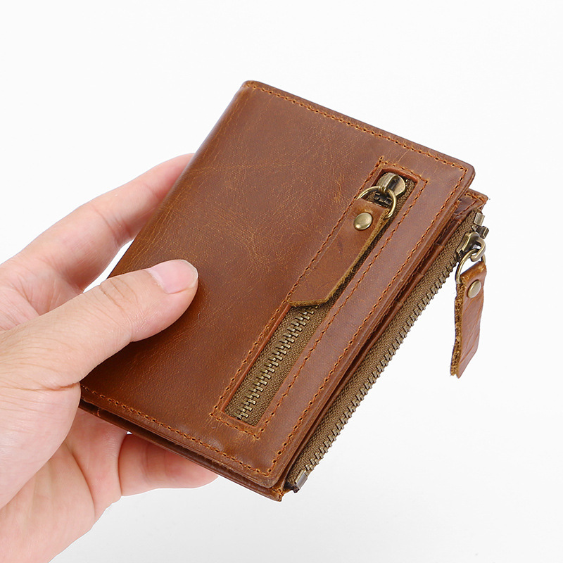 Man Wallet Oil Wax Leather Multi-function Anti-theft Rfid Wallet