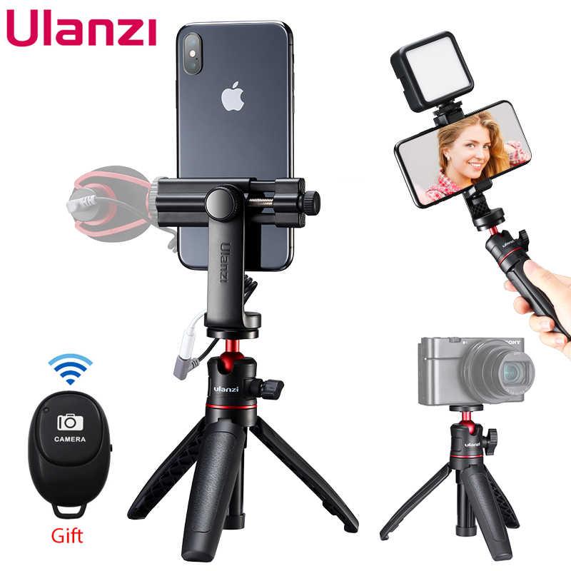 Ulanzi U-Vlog Lite Extensible Double Cold Shoe Ball Head Tripod pour T/él/éphone Mirrorless Camera Vlog Compatible avec iPhone