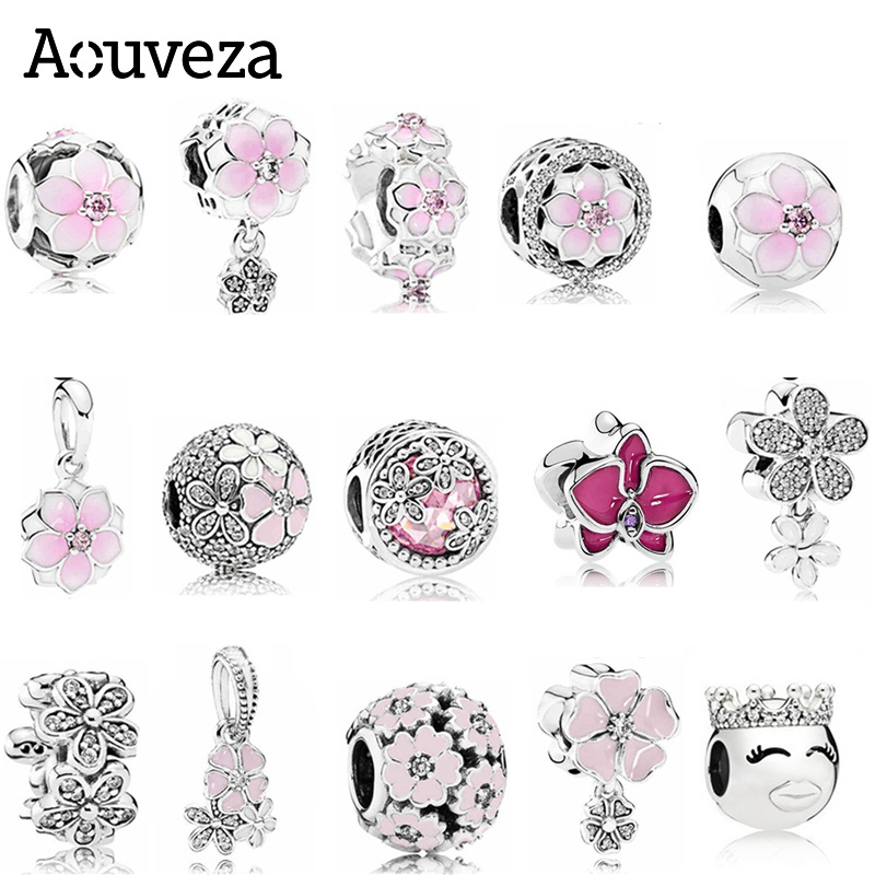 AOUVEZA New Style Pink Flower Beaded Charm fit Original Pandora charms Silver 925 Bracelet DIY Women Jewelry