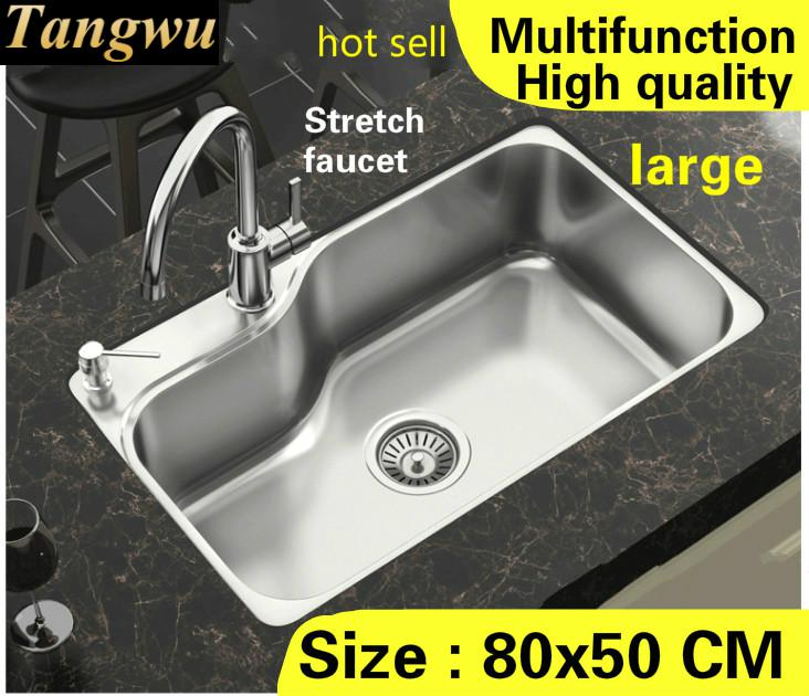 Free Shipping Apartment Multifunction Stretch Faucet Wash Vegetables Big Kitchen Single Trough Sink 304 Stainless Steel 80x50 CM