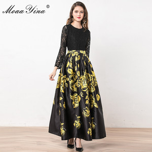 Image 4 - MoaaYina Fashion Designer Dress Summer Women Long sleeve Lace Patchwork Floral Print Ball Gown Elegant Dress