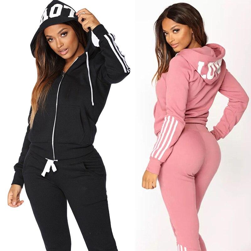 Women's Sweatshirt Hoodie Elegant Fashion 2 Pieces Suit Sets Hoodie Jacket Pants  Female Sports Suit Women Clothing Plus Size 1