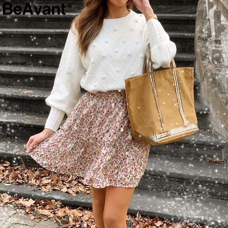 Beavant camisola de inverno de malha pulôver lanterna manga senhoras blusas feminino minimalista puxar femme doce branco jumper