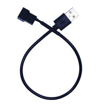 3pin o 4pin ventilador USB Cables adaptadores 3/4 Pin alimentación para ventilador de PC conector de Cable adaptador 5V 30cm conectar