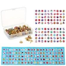 194pcs/box Map Tacks National Flag Glue Thumbtack Push Pins Notice Board Markers