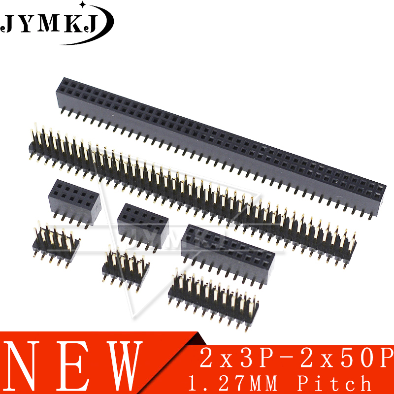 10PCS SMD SMT 2*2/3/4/5/6/7/8/9/10/12/16/20/40/ PIN Double Row Male Female Pin Header 1.27MM Pitch Strip Connector