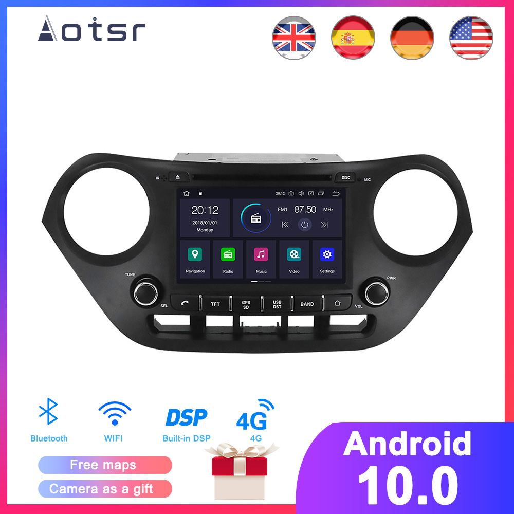 DSP Android 10.0 Car <font><b>GPS</b></font> Navigation DVD Player For <font><b>Hyundai</b></font> <font><b>i10</b></font> 2013-2017 Auto Stereo Radio Multimedia Player Head Unit Recorder image
