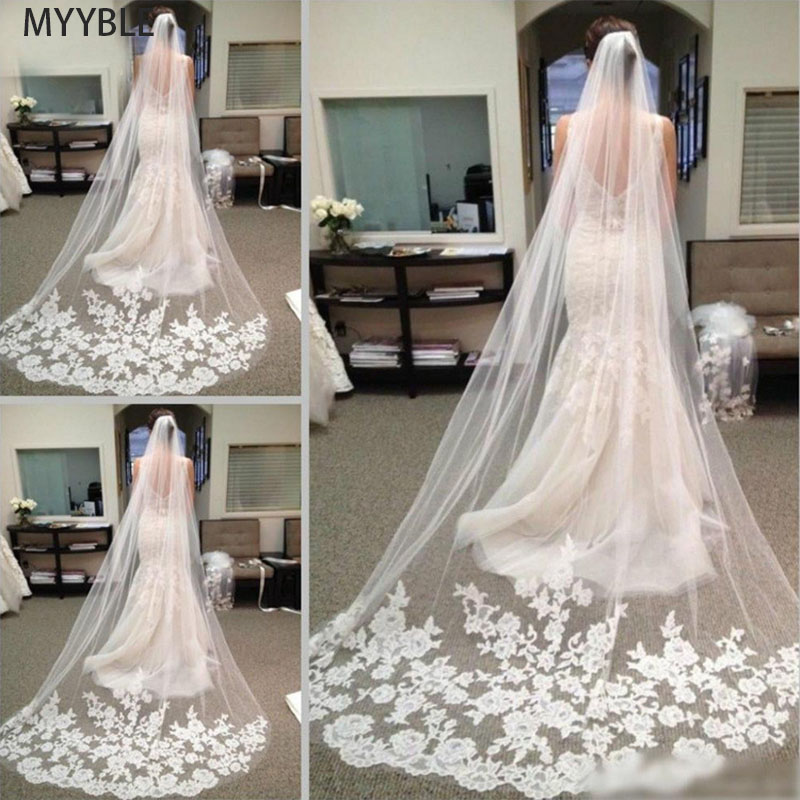 MYYBLE 2020Wholesale 3M 5M One Layer Lace Edge White Ivory Catherdal Wedding Veil Long Bridal Veil Cheap Wedding Accessories Veu