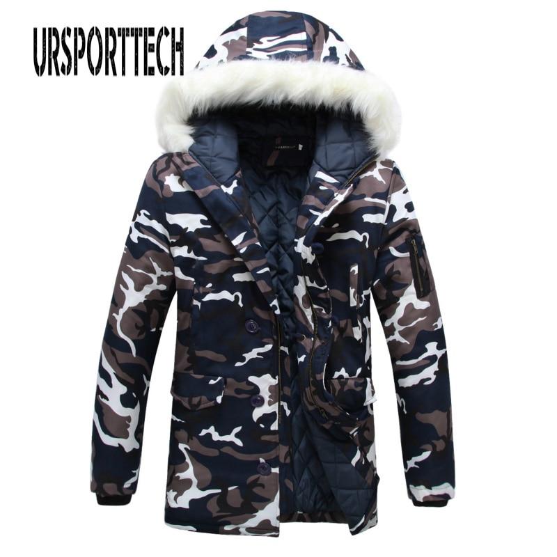 Camouflage Parka Mens Winter Jacket Men Big Fur Collar Fashion Middle Long Coats Plus Size Winter Coat Men Parka Homme 5XL