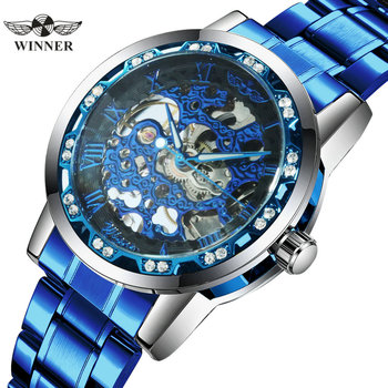 WINNER Official Brand Luxury Watch Men Fashion Blue Skeleton Mechanical Watches Crystal Business Casual Wristwatch Steel Strap - discount item  90% OFF Men's Watches