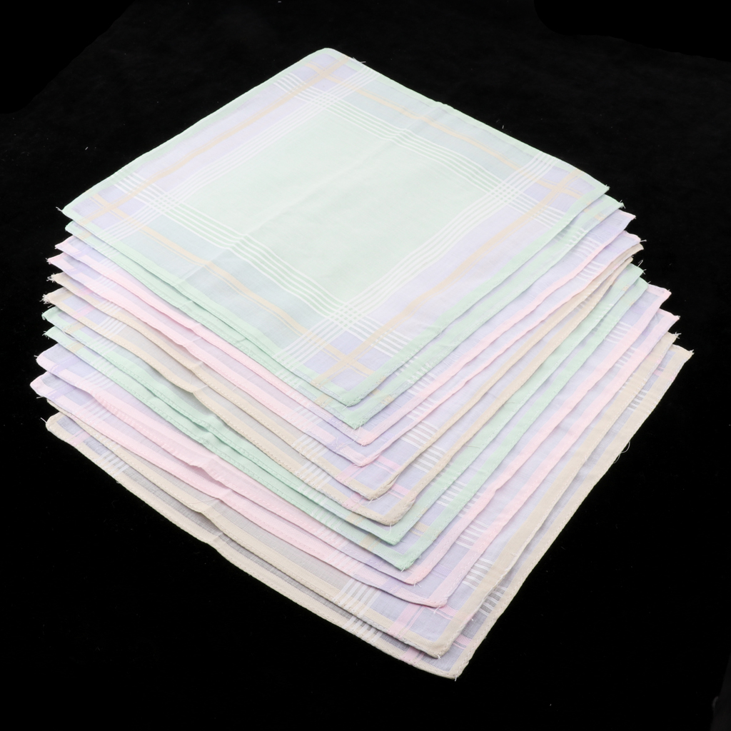 12 Piece Men Women 100% Cotton Square Handkerchief Hanky Bridal Party Hankie  30 X 30 Cm Light Color Handkerchiefs