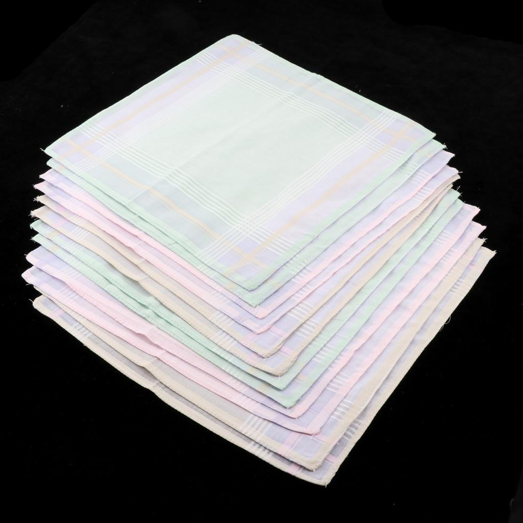12 Piece Men Women 100% Cotton Square Handkerchief Hanky Bridal Party Hankie  30 X 30 Cm Light Color Handkerchiefs