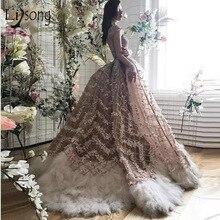 高級シャンパン 3D 花の人魚のウェディングドレスでビーズ羽ブライダル Vestidos デ · ノビア