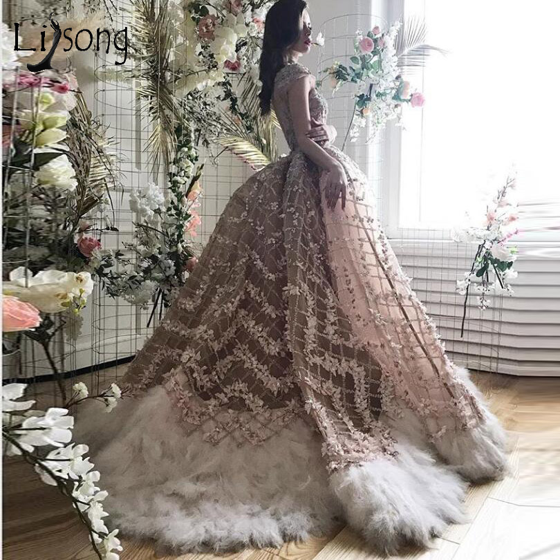 Luxury Champagne 3D Flower Mermaid Wedding Dresses With Detachable Beaded Feather Bridal Gowns Vestidos De Novia