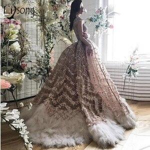 Image 1 - Robe De mariée Champagne, à fleurs 3D, style sirène, robe De mariée avec plumes détachables, avec perles détachables