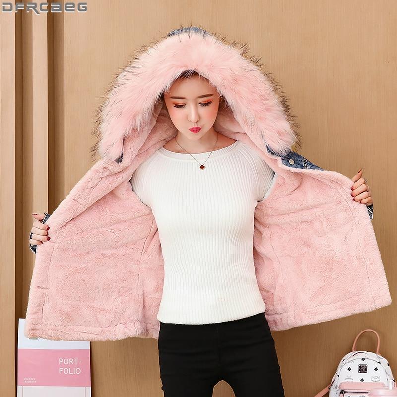 New 2019 Winter Harajuku Jeans Jacket Women Plus velvet Thicken Warm Ladies Coats Loose Oversized Outerwear Hooded Denim Jackets