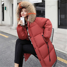 Cotton women's long section 2019 winter new thick loose cotton clothing hooded bread clothes cotton jacket tide