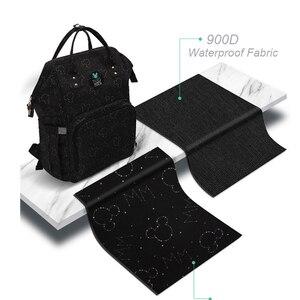 Image 2 - Disney Waterproof USB Heating Diaper Bag Toddler Mommy Diaper Backpack Cartoon Micky Travel Bag Large Capacity Minnie Nappy Bag