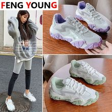 Summer New Mid-heel Shoes Mesh Deep Mouth Round Head Cross Strap Sneakers Woman's Women Vulcanized Shoes(China)