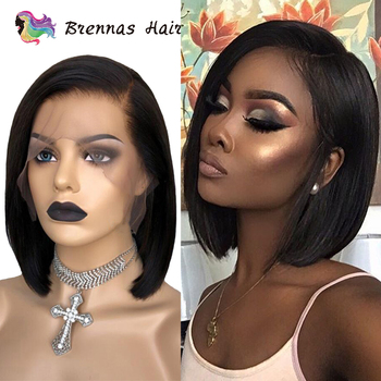 Short bob 13x6 lace wig natural black color side part straight bob lace front wig baby hair human non Remy hair for black women