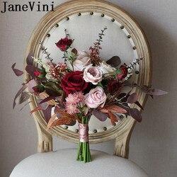 JaneVini 2020 Neue Silk Blume Hochzeit Bouquet Braut Rose Artificielle Vintage Burgund Künstliche Pflanzen Braut Blumen Bouquets
