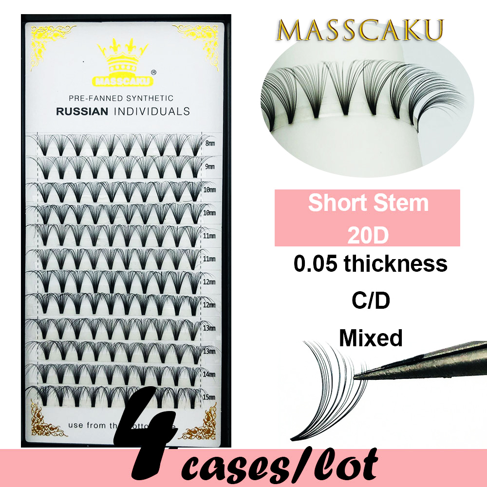 4 Cases/lot MASSCAKU Eyelash Extensions 20D Premade Volume EyeLashes False Eyelashes 0.05mm C D Curl Soft And Natural Faux Mink