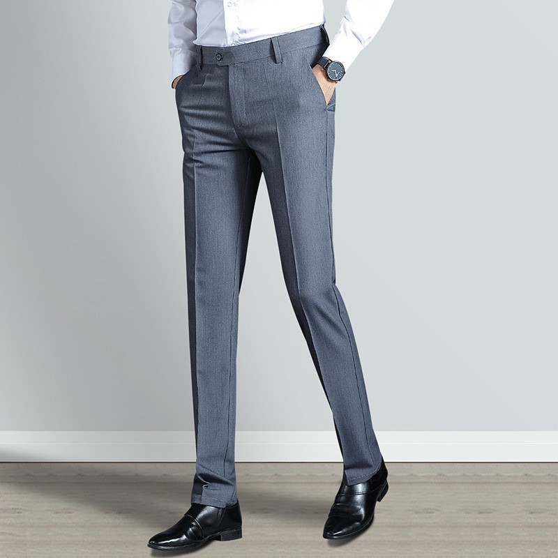 Formal Mens Business Work Wear Full Length Smart Casual Suit Pants Fashion Slim Straight Soft Stretch Male Trousers Plus Size
