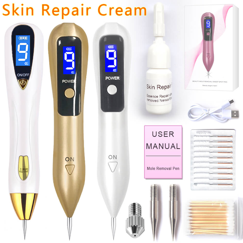 Laser Mole Removal Pen Set Wart Plasma Remover Tool Repair Skin Pore Freckle Dark Tag Nevus Acne Blackhead Sweep Age Spot Tattoo