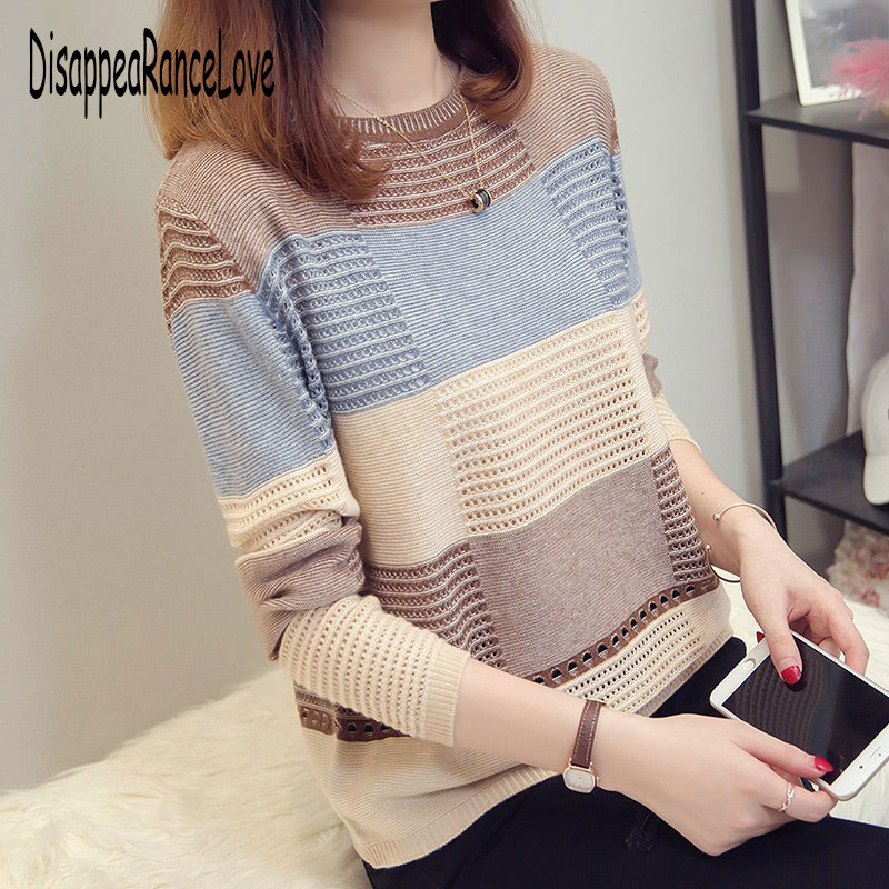 Vintage O-neck Plaid Sweaters Women Autumn Winter Full Sleeve Loose Knitted Pullovers Korean Style Female Jumpers Sweater 2019