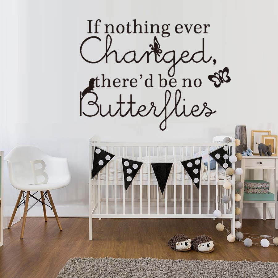 If Nothing Ever Change Living Room Wall Decal Art Vinyl Butterflies English Text Quote Stickers Home Decor Bedroom DIY Murals image