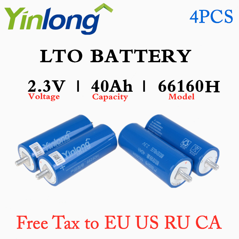 Rechargeable <font><b>66160</b></font> 2.3V 40Ah Cylindrical Lithium Titanium Oxide LTO Battery 4PCS For Electric Vehicles Yachts Charging Station image