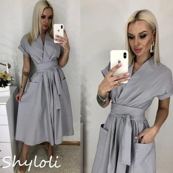 Office Lady Women Casual Sashes A-Line Dress Ladies Short Sleeve V-Neck Summer Dress 2021 Fashion Midi Party Dress Vestidos 1