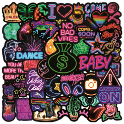 50/100pcs Neon Stickers For Stationery Car Photo Album Undefined Phone Scrapbooking Material Vintage Sticker Craft Supplies