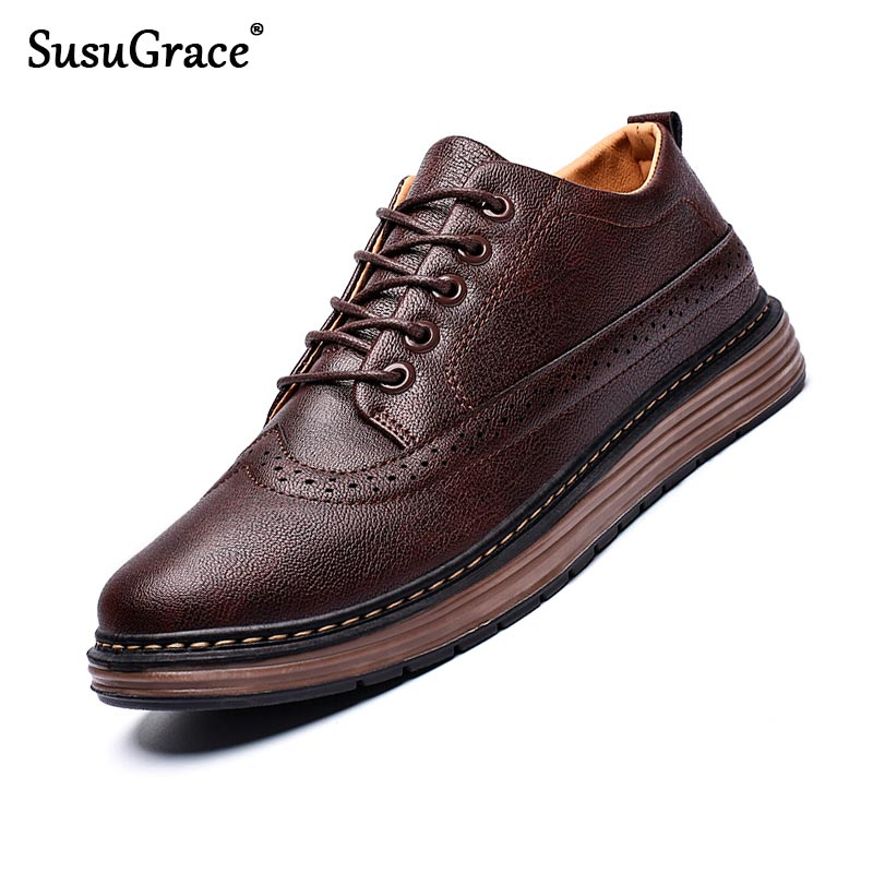 SusuGrace Spring Autumn Casual Leather Shoes For Men Black Sneakers Flat Business Lace-up Zapatos De Hombre Loafers Breathable