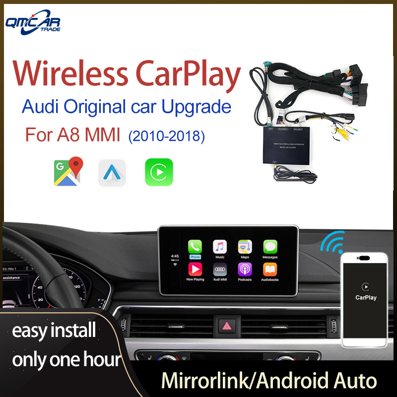 QMCAR Wireless Apple CarPlay for Audi A8 2010-2018 With Android Auto /Car play Support Airplay/HDMI Display Multimedia image