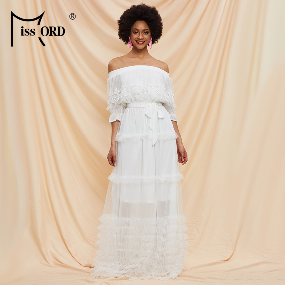 Missord 2020 Spring Summer Slash Neck Half Sleeve High Waist Women Lace Dresses Ruffles Female Holiday Dresses AM0070