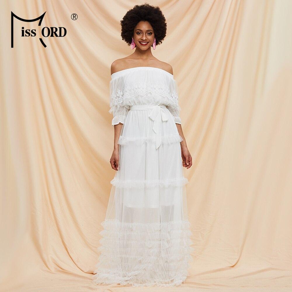 Missord 2020 Spring Summer Slash Neck Half Sleeve High Waist Women Lace Dresses Ruffles Female Holiday Dresses AM0070