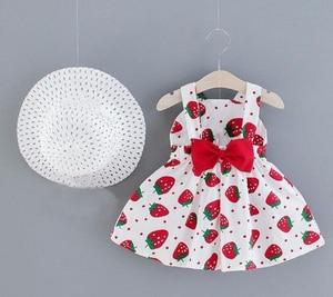 Модная детская одежда для девочек, платье + шляпа, комплект, летнее платье принцессы + Солнцезащитная шляпа, милое платье-пачка для дня рожде...