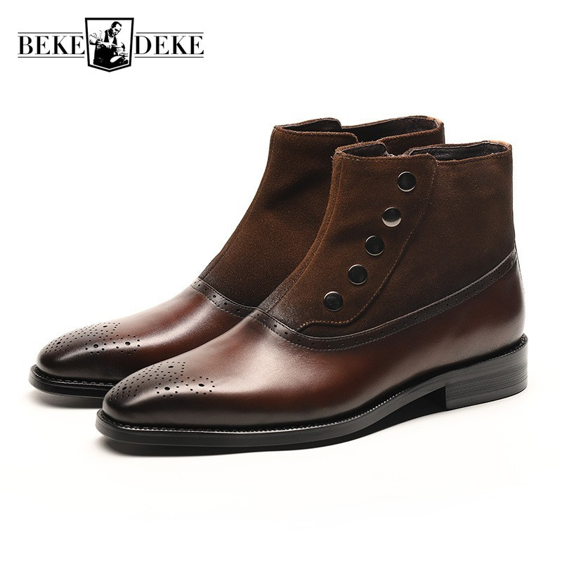 Business Men Formal Cow Real Leather Ankle Boots Formal Pointed Toe Office Work Safety Shoes Beading Winter Boots Male Footwear
