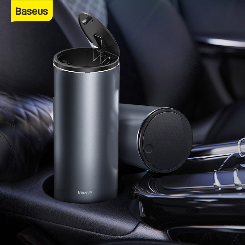 Baseus Car Trash Bin Garbage Can Alloy Auto Interior Organizer Storage Bin Car Garbage Box Holder Ashtray Case Car Accessories